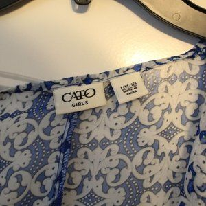 Cato Shirts & Tops - Blue Patterned Cover Up With Tassles